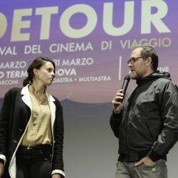 ABANO TERME (PD) 23-03-2019 Cinema Marconi. Detour Festival 2019. Valerio Mastrandrea presenta il suo fim RIDE da regista.Da sx l'attrice Chiara Martegiani, con Valerio Mastrandrea.