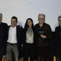PADOVA 31-03-2019 Cinema PortoAstra. Detour Festival 2019. Le Premiazioni. La giuria: da sx  Alessandro Pesci, Romolo Bugaro, Nabiha Akkari, Christian Frei e Marco Segato.