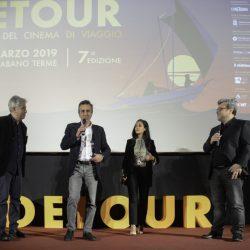 PADOVA 31-03-2019 Cinema PortoAstra. Detour Festival 2019. Le Premiazioni. La giuria: da sx  Alessandro Pesci, Romolo Bugaro, Nabiha Akkari e Marco Segato.